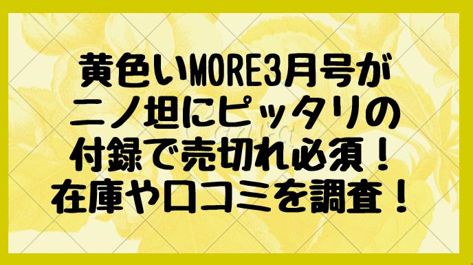 黄色いMORE3月号がニノ坦にピッタリの付録で売切れ必須!在庫や口コミを調査!