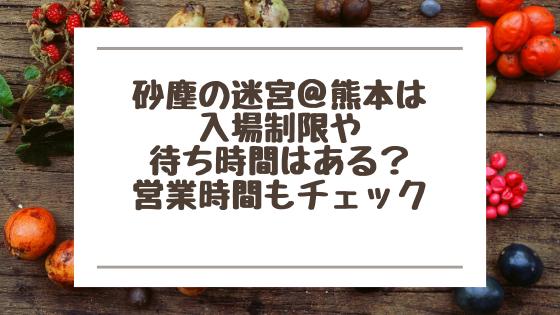 砂塵の迷宮@熊本は入場制限や待ち時間はある?営業時間もチェック
